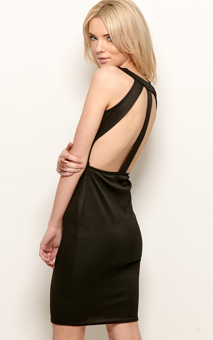 Zelia Black Backless Midi Dress 3