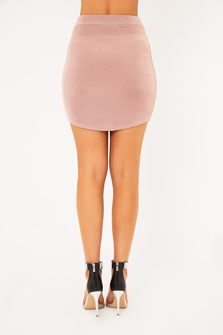 Lizandra Blush Disco Slinky Mini Skirt  4