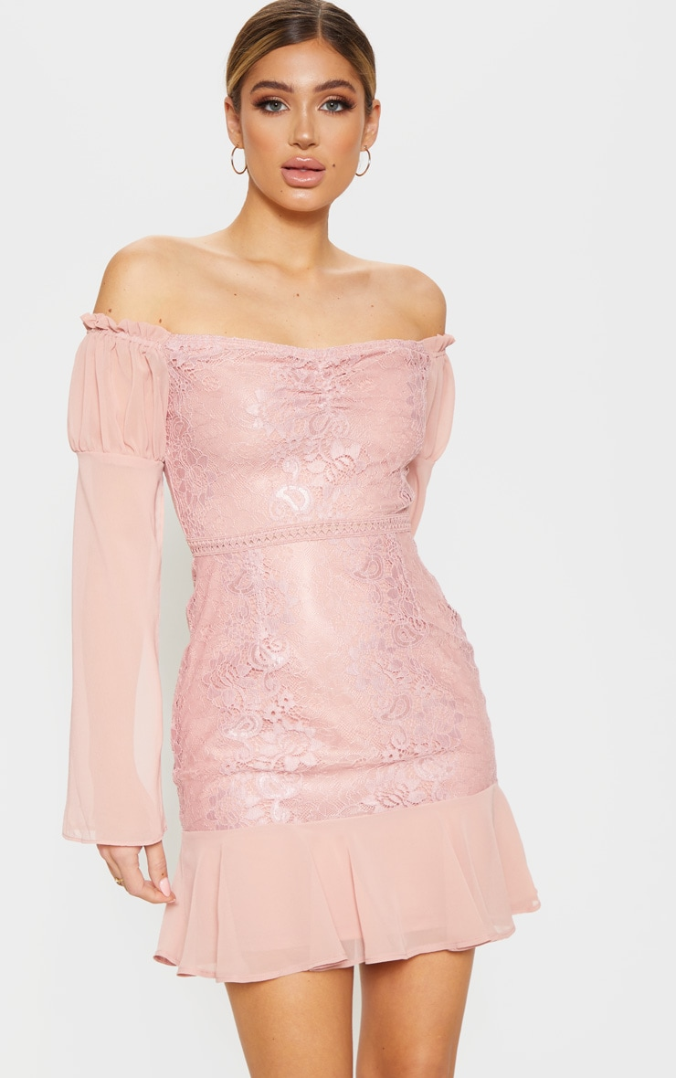 Rose Lace Puff Sleeve Frill Detail Bodycon Dress  1