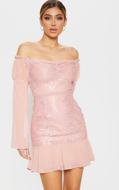 62ffdbca6490dc Rose Lace Puff Sleeve Frill Detail Bodycon Dress