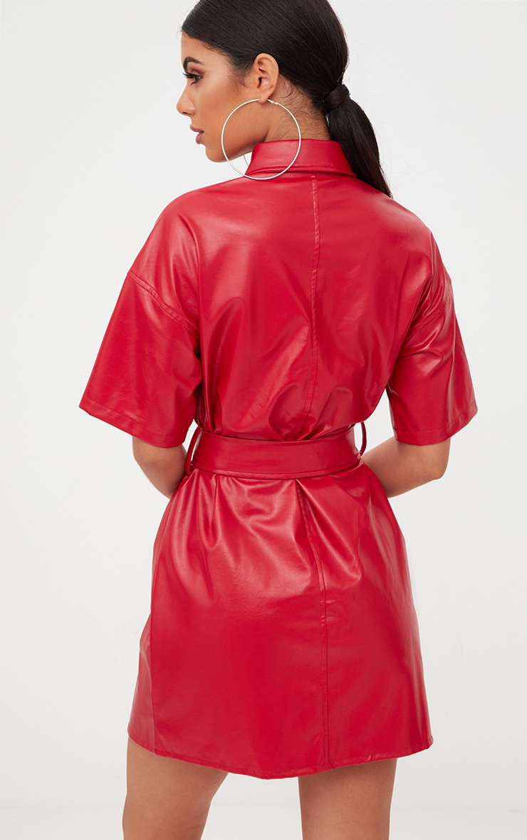 Red Button Up Tie Waist PU Shirt Dress 2