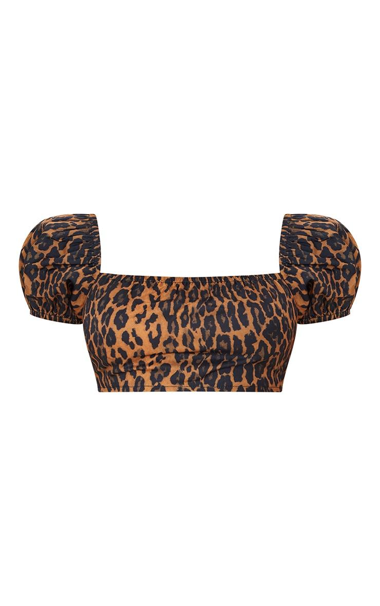 Petite - Chemisier court léger marron imprimé léopard à manches bouffantes 5