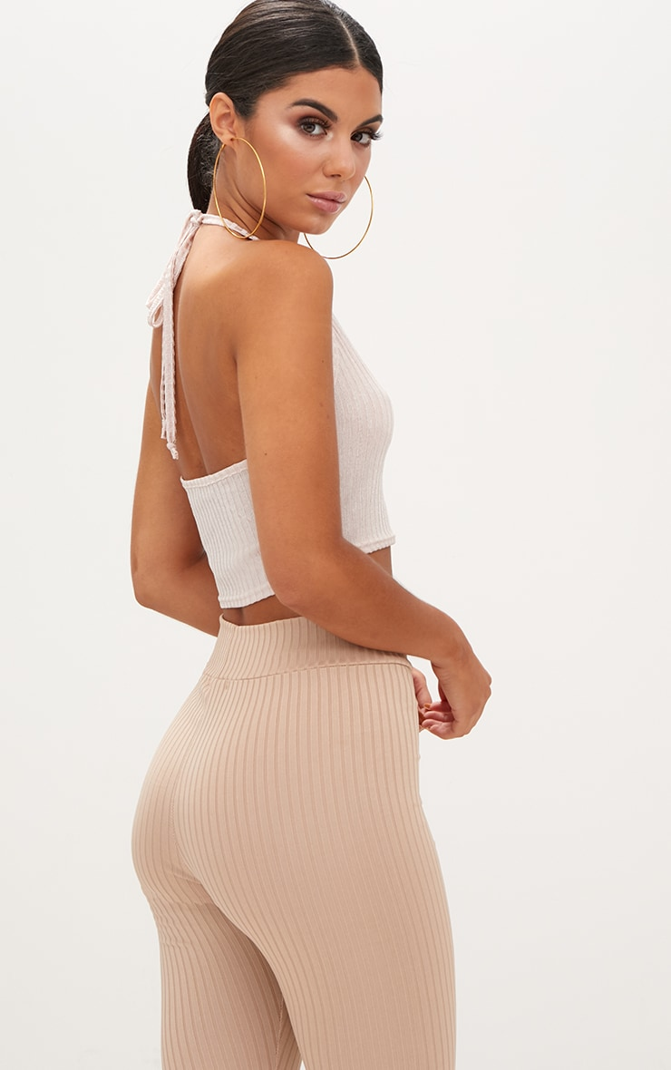 Nude Ribbed Shine Halterneck Crop Top 2