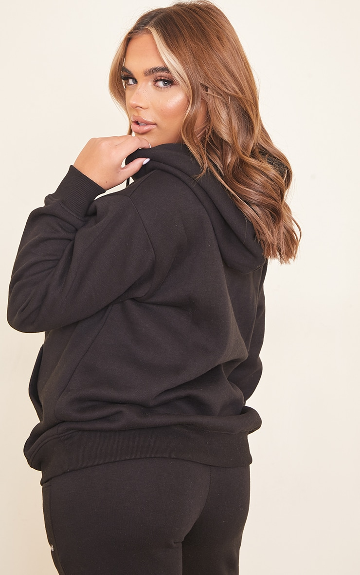 Maternity Black Embroidered Pretty Little Mama Hoodie 2
