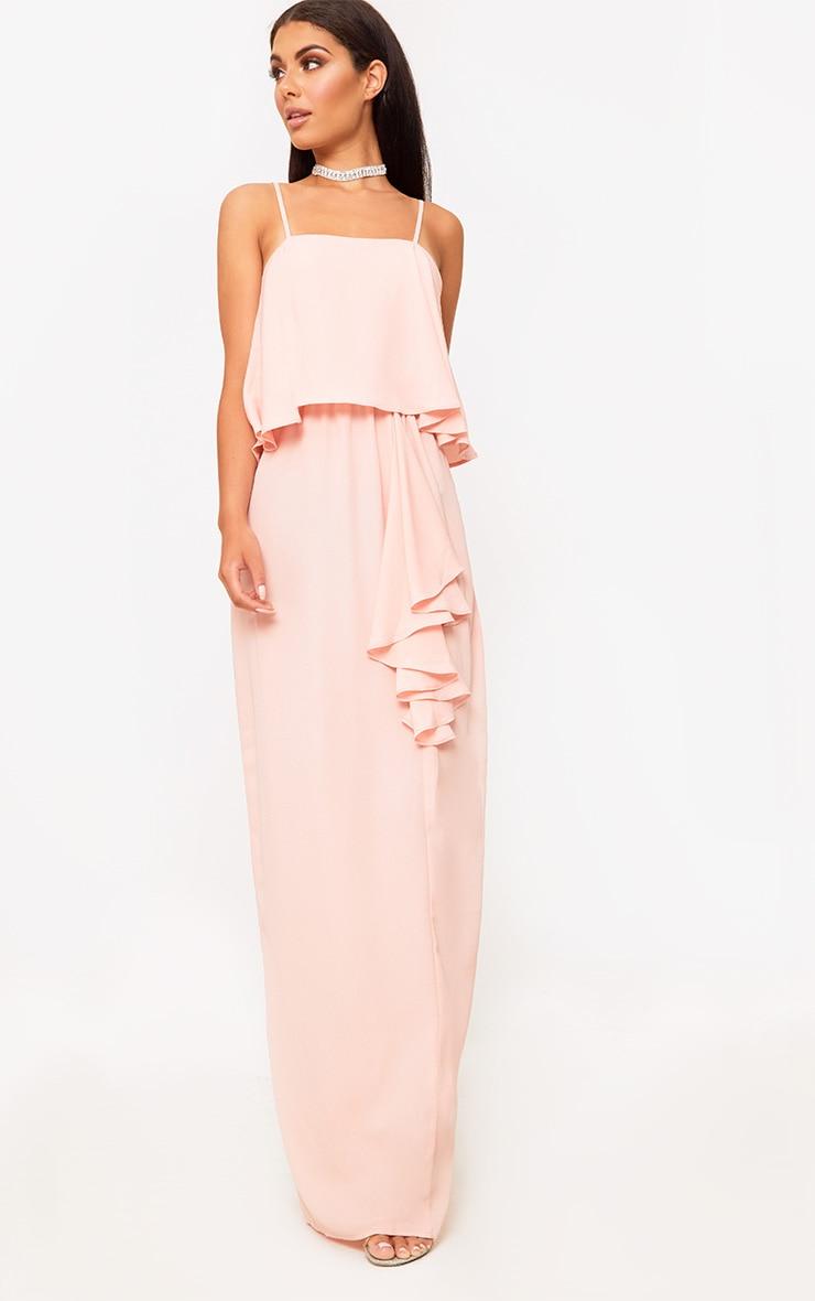 Blush Strappy Ruffle Front Maxi Dress 1