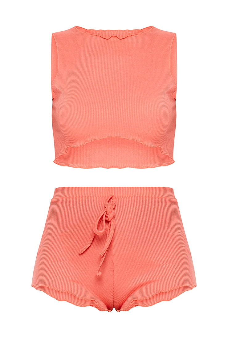 Coral Ribbed Frill Edge Short PJ Set 3