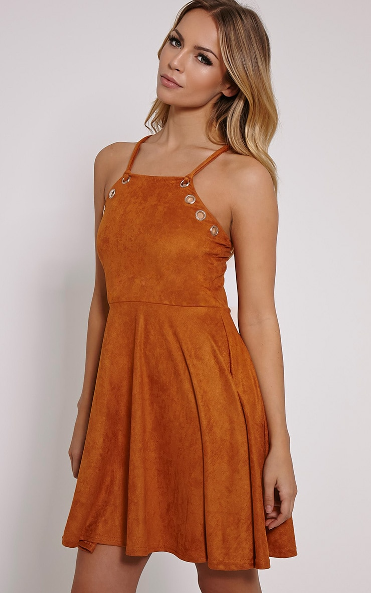 Issa Tan Eyelet Faux Suede Skater Dress 4