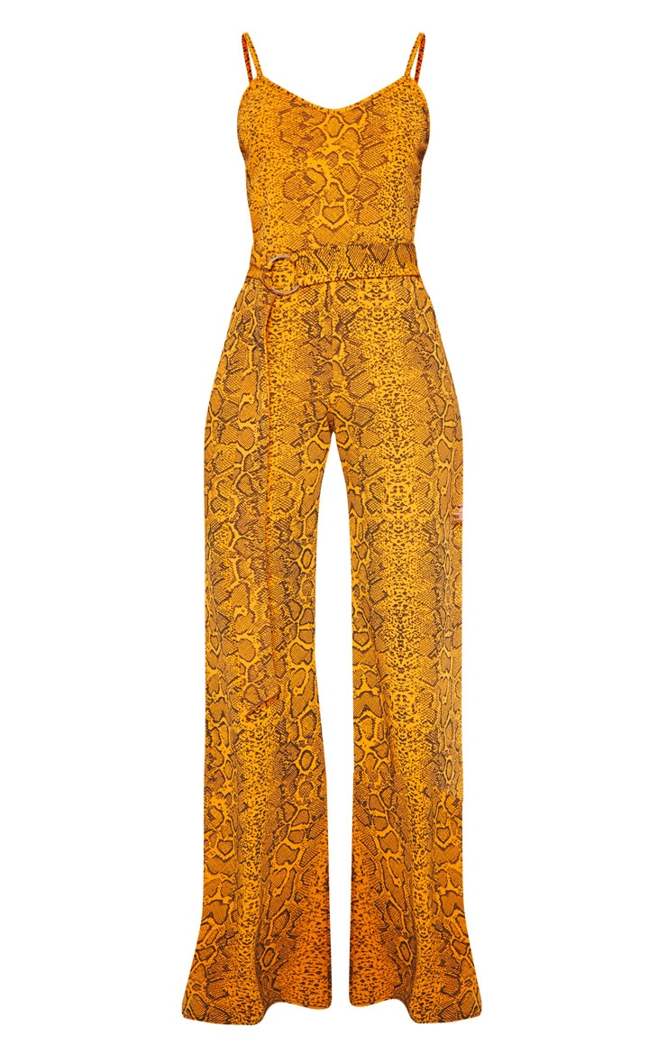 Mustard Snake Print O-Ring Belt Jumpsuit 3