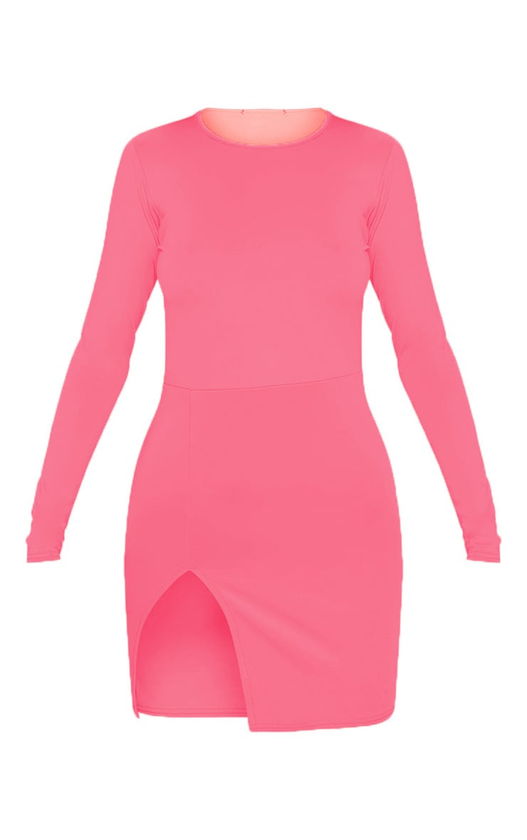 Neon Pink Long Sleeve Split Leg Bodycon Dress 3