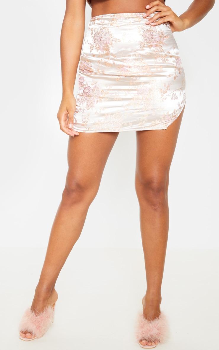 Pink Oriental Print Mini Skirt 2