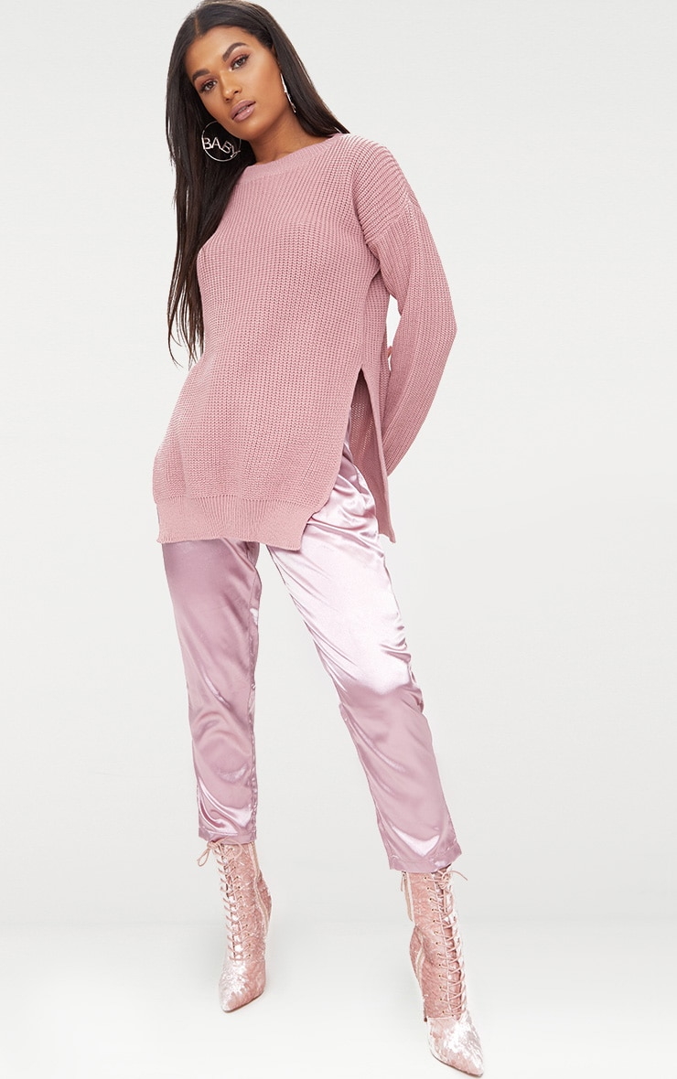 Rexx Mauve Round Neck Side Split Jumper 4