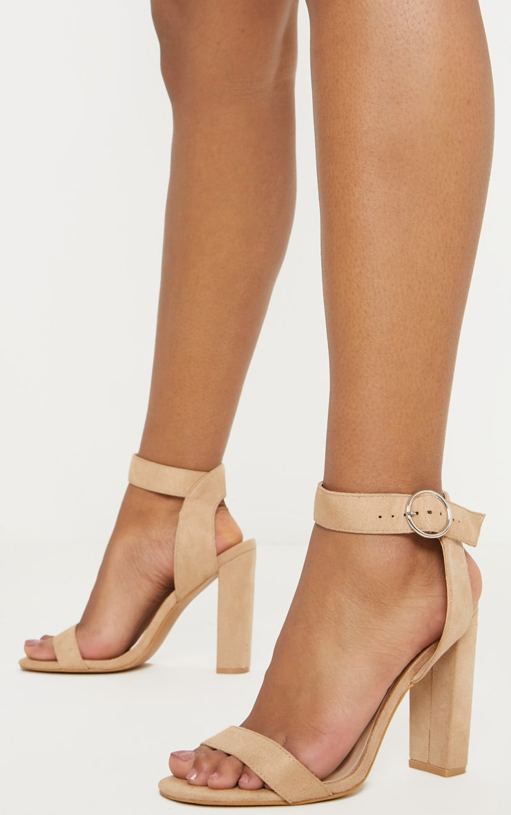Nude Ring Buckle Block Heel Sandal 1