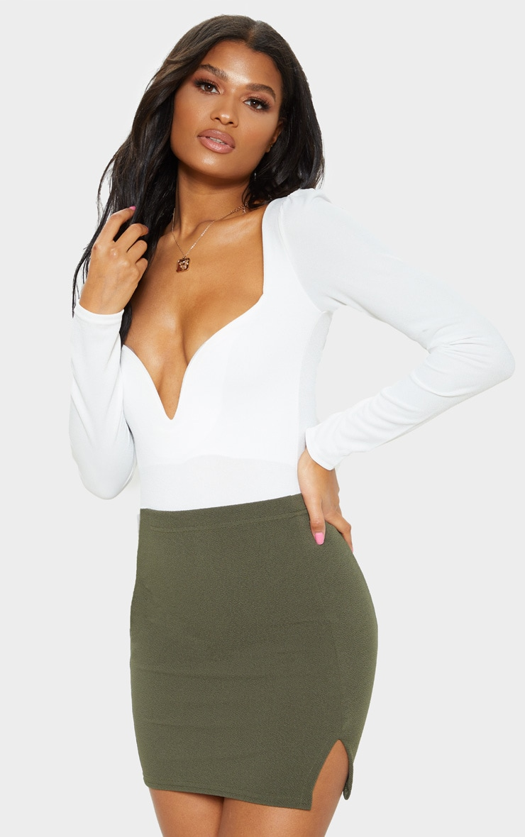 Jemmia Khaki Split Mini Skirt  1