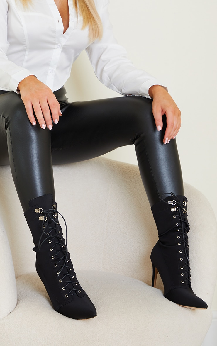 Black Lycra Lace Up Pointed Toe Sock Boots 2