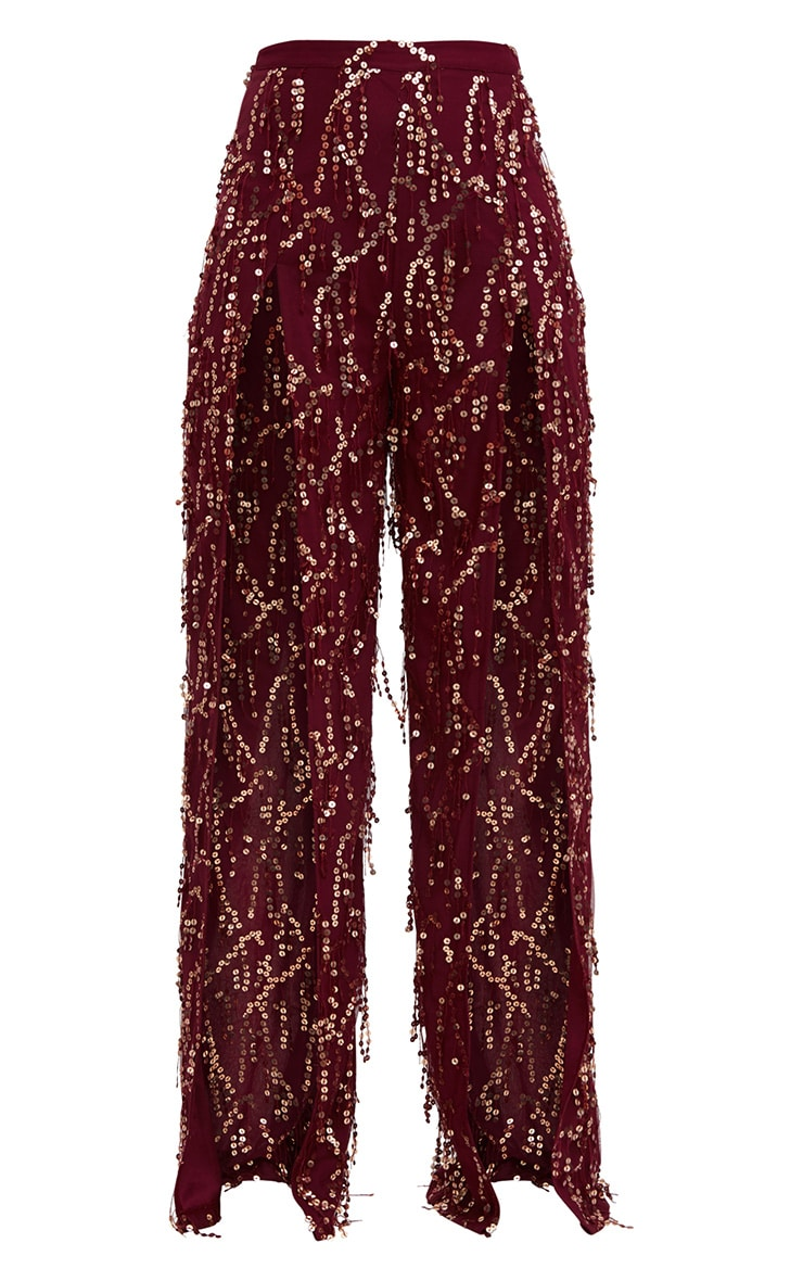 Burgundy Sequin Tassel Front Split Trousers 3