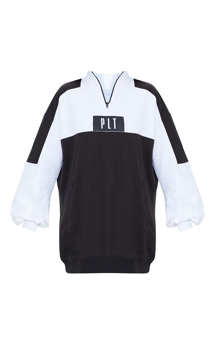 PRETTYLITTLETHING Black Double Zip Sweat Jumper Dress 5