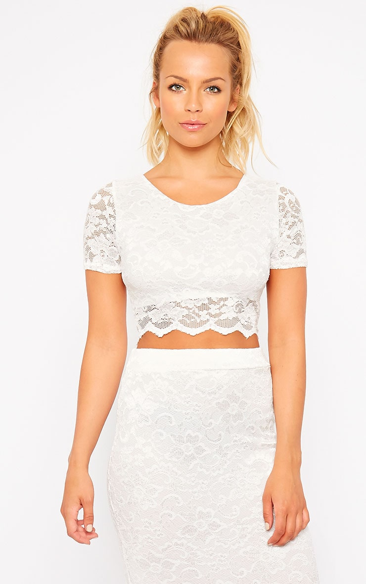 Diona Cream Lace Crop Top 1