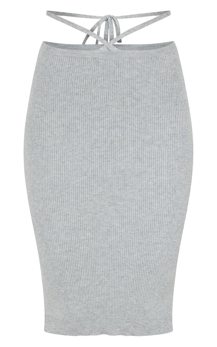 Grey Cross Over Waist Midi Skirt 5