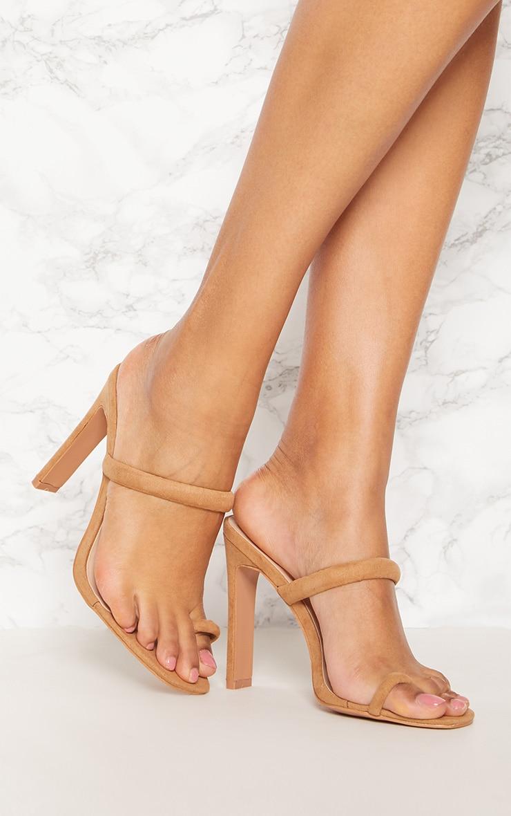 Sand Toe Strap Flat Heel Mule