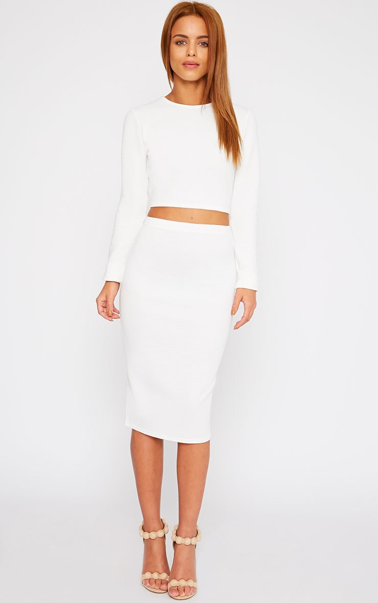 Britney Cream Ribbed Midi Skirt 1