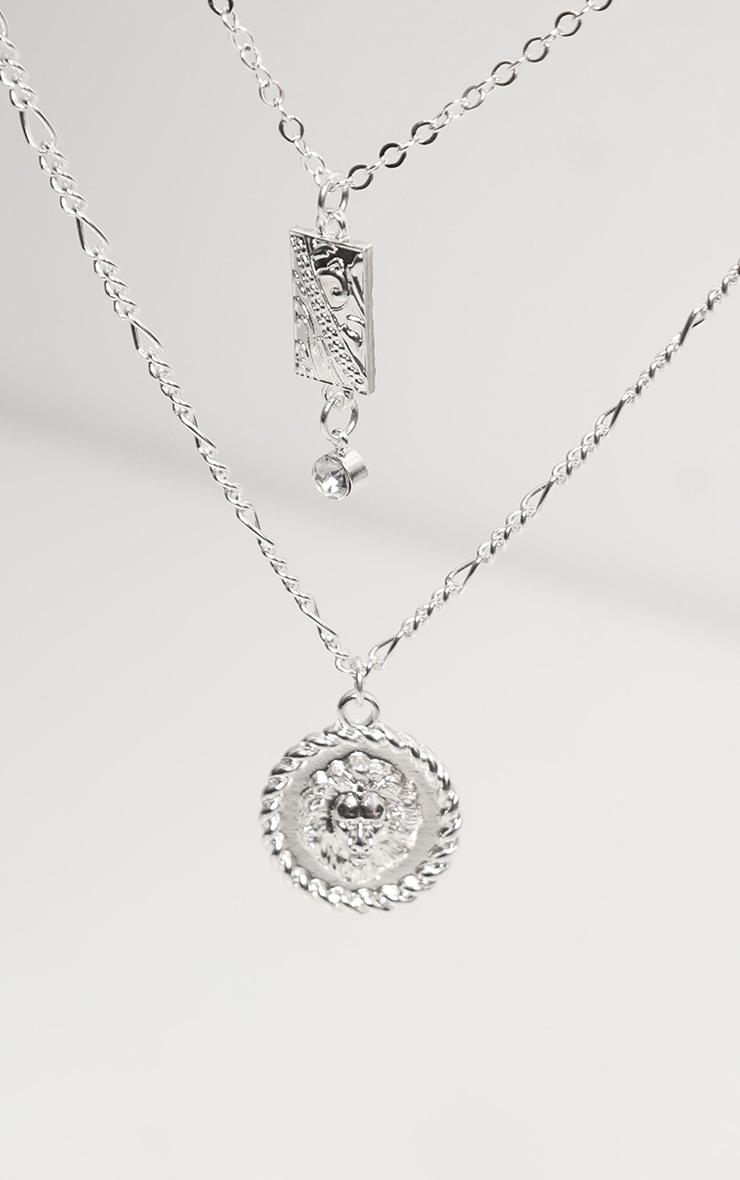 Silver Diamante Drop Lions Head Double Layering Necklace 4