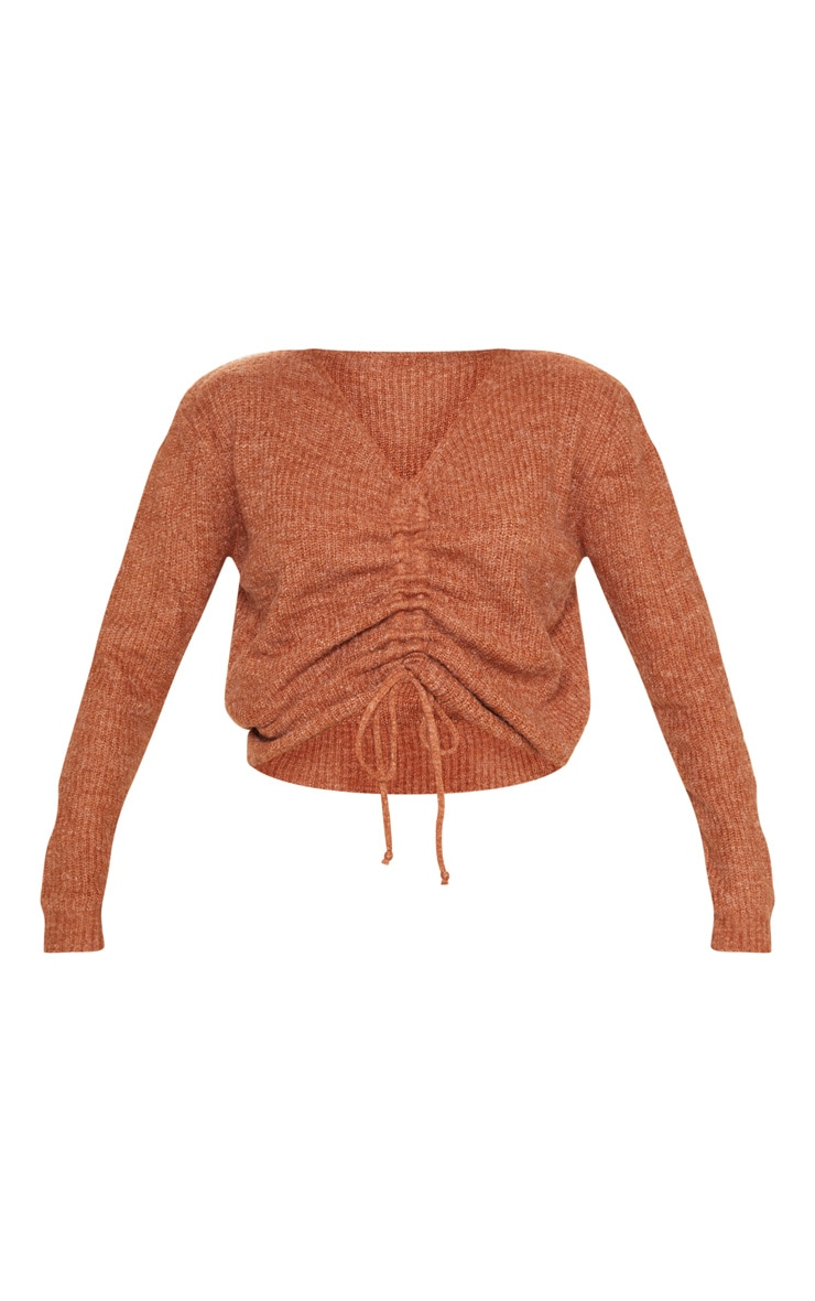 Rust Ruched Front Sweater 3