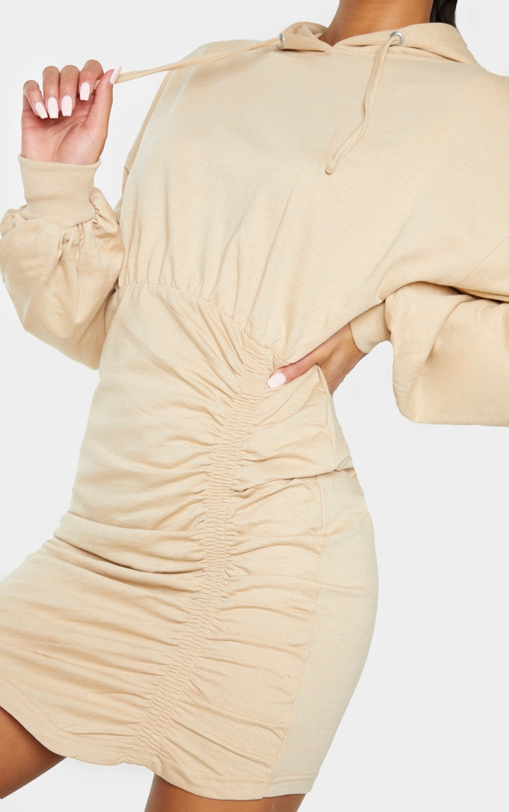 Camel Ruched Skirt Hoodie Dress 5