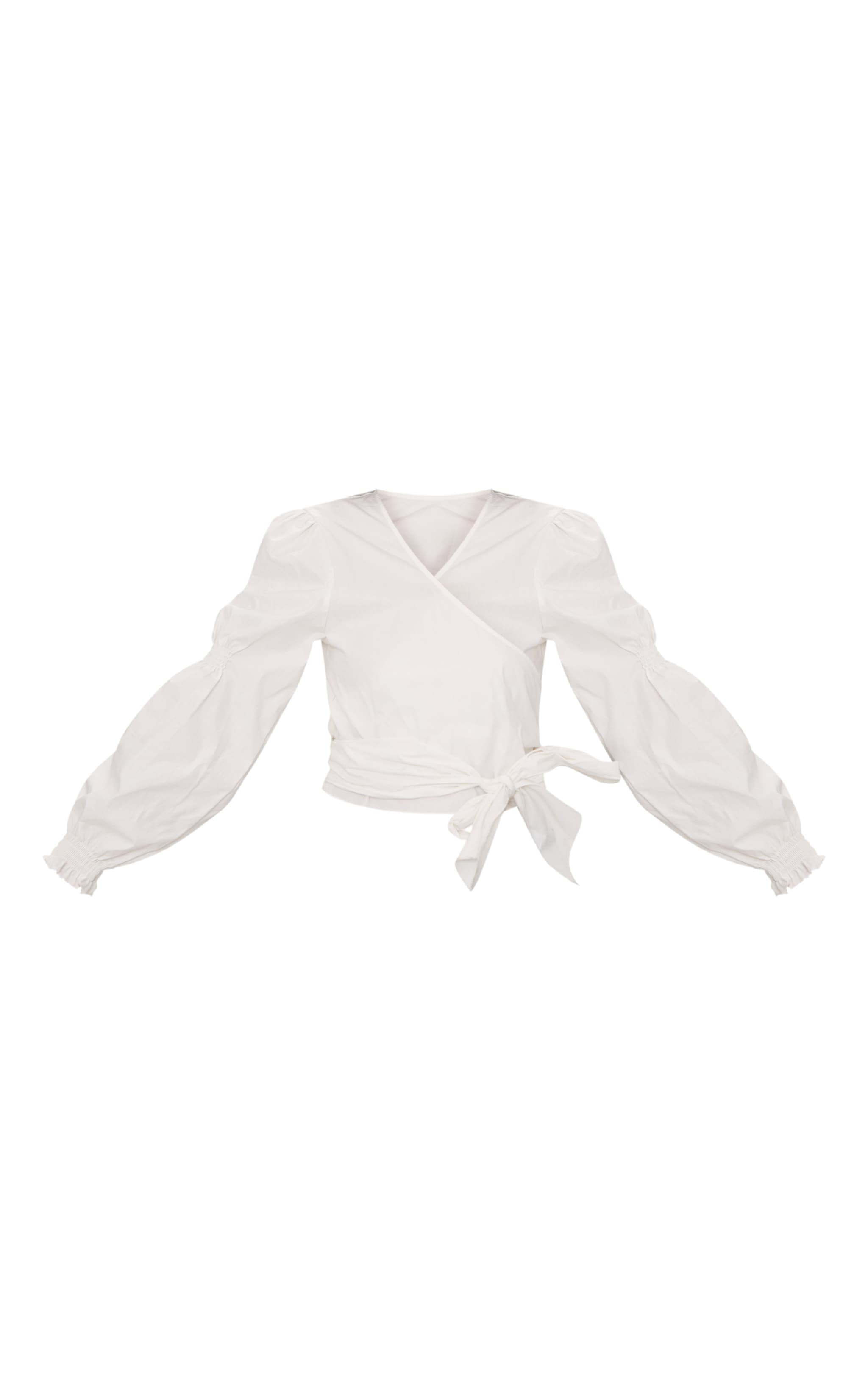 White Wrap Front Puff Shoulder Crop Shirt  3
