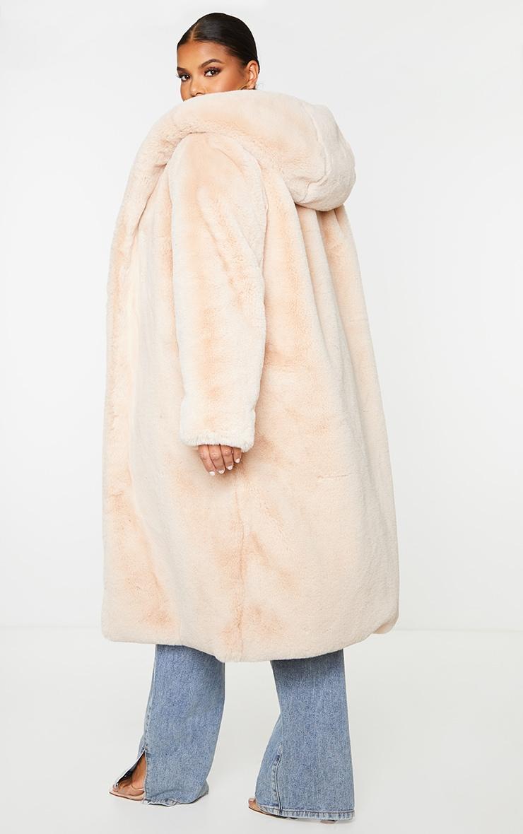 Plus Nude Premium Longline Faux Fur Hooded Coat 2
