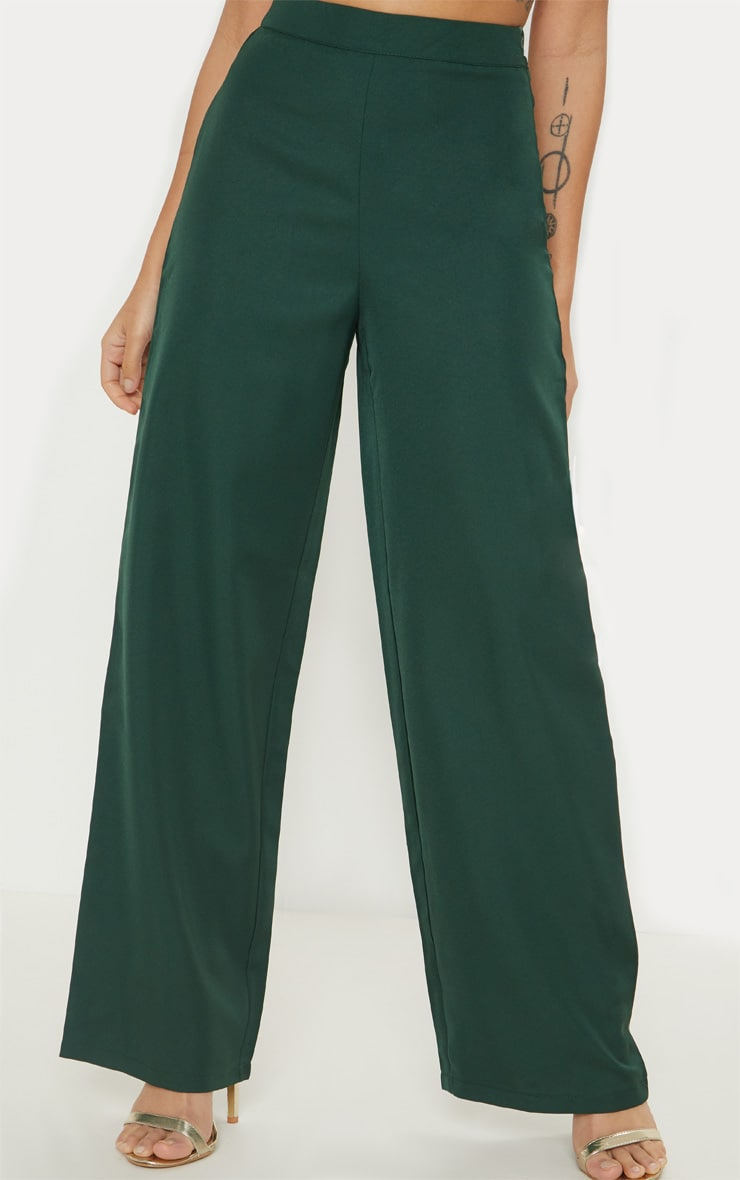 Petite Emerald Green Button Detail Wide Leg Pants 2