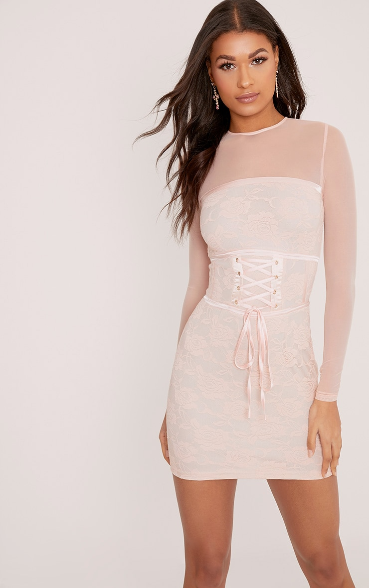 Kalla Blush Corset Detail Lace Bodycon Dress 1
