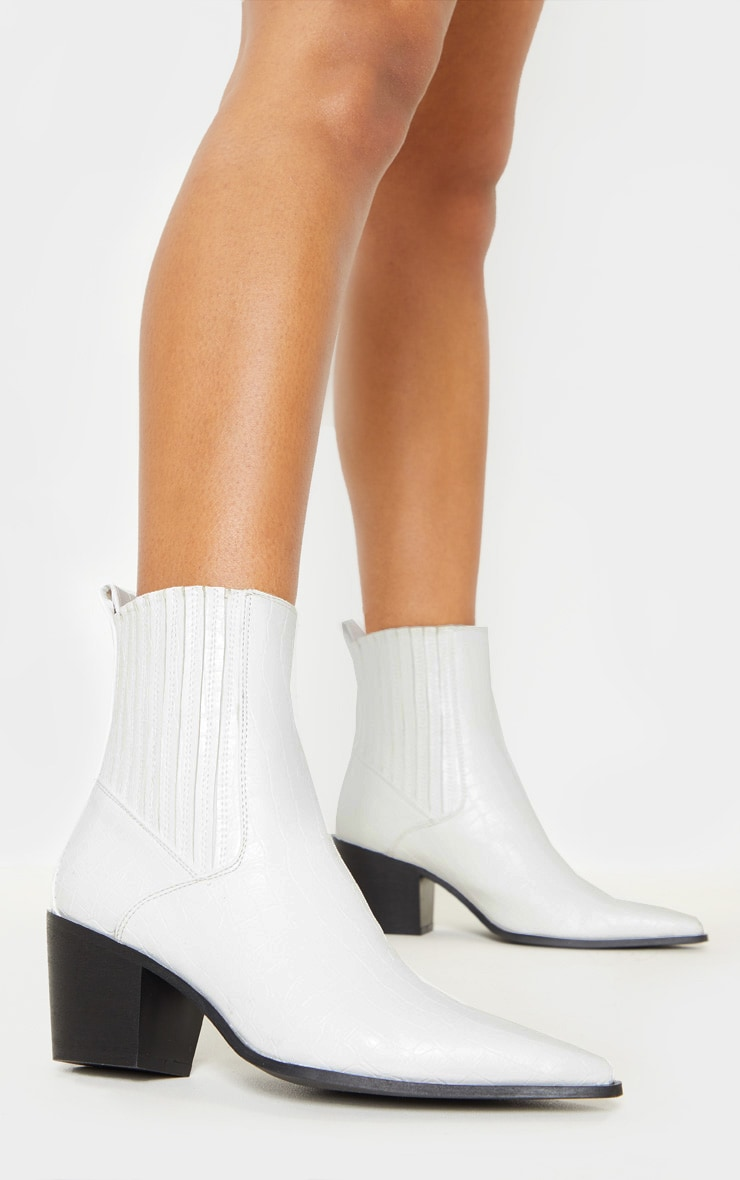 White Chelsea Western Ankle Boot 1