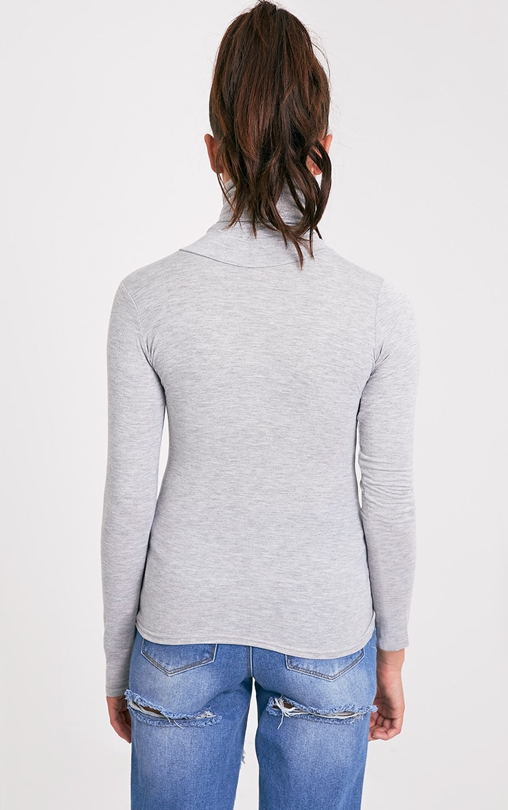 Basic Grey Long Sleeve Roll Neck Top 2