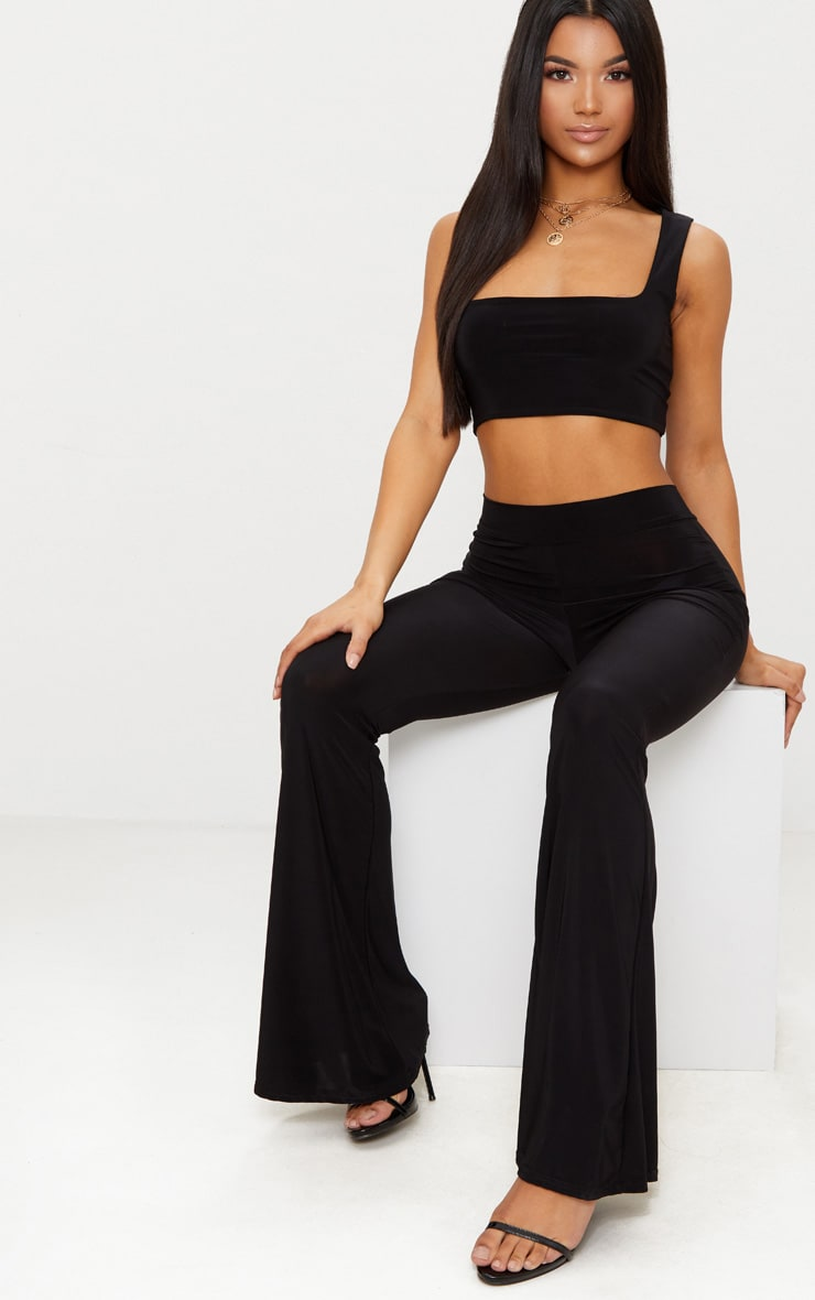Black Slinky Loose Crop Top  4