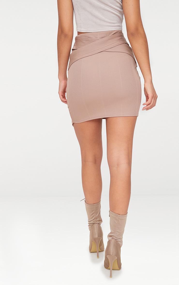 Taupe Bandage Strap Detail Mini Skirt 4
