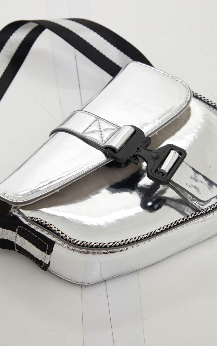 Silver Metallic Cross Body Bag 4