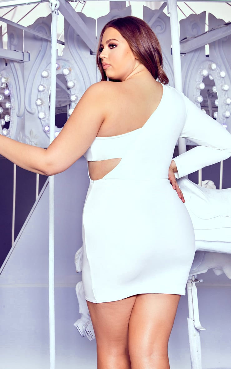 Plus White One Shoulder Bodycon Dress 2