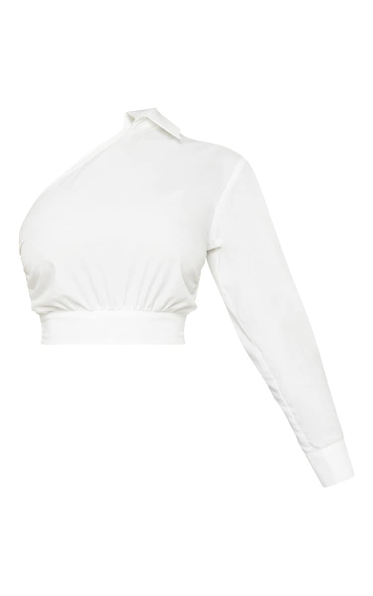 Tall White Asymmetric One Sleeve Cropped Shirt Top 3