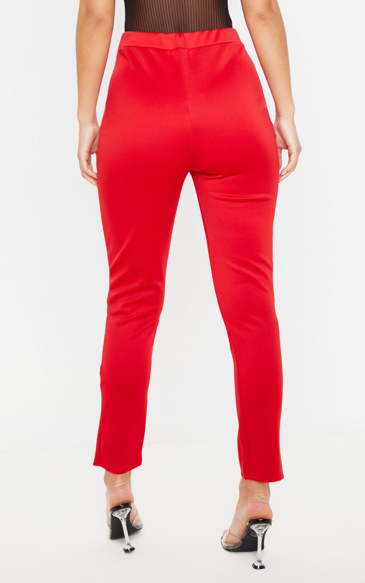 Red Scuba Step Hem Skinny Trousers 4