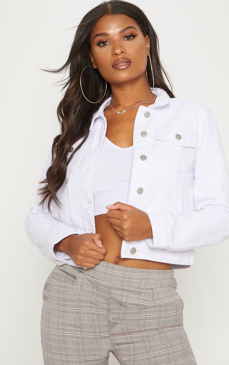 Cropped White Denim Jacket
