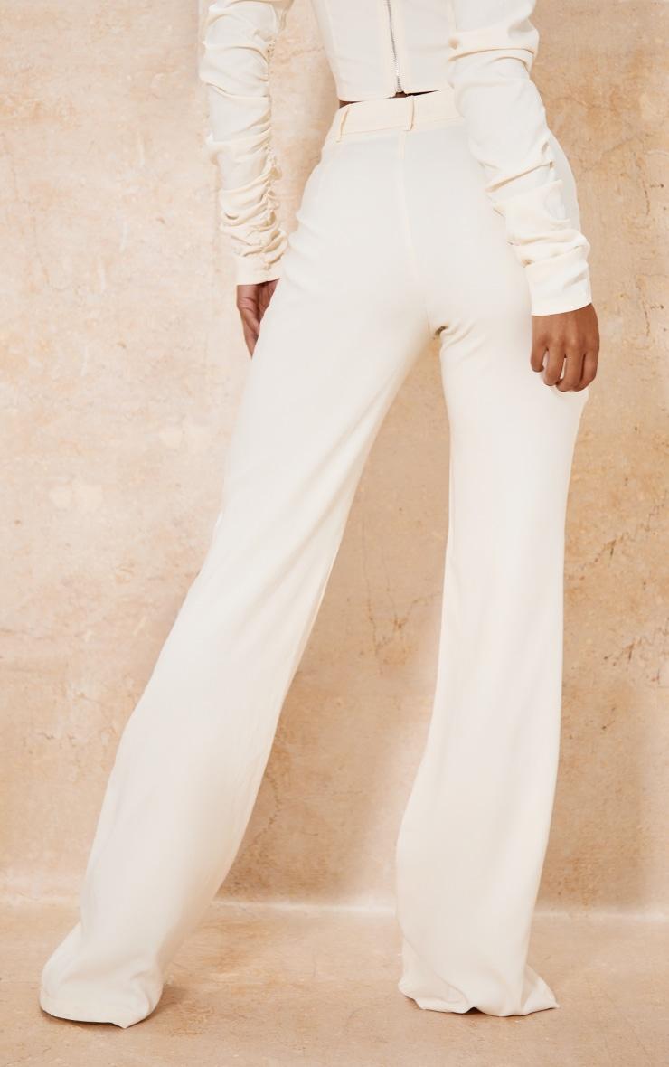 Cream Woven High Waist Tailored Trousers 3