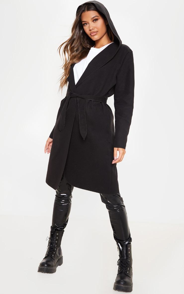 Black Waterfall Hooded Coat 1