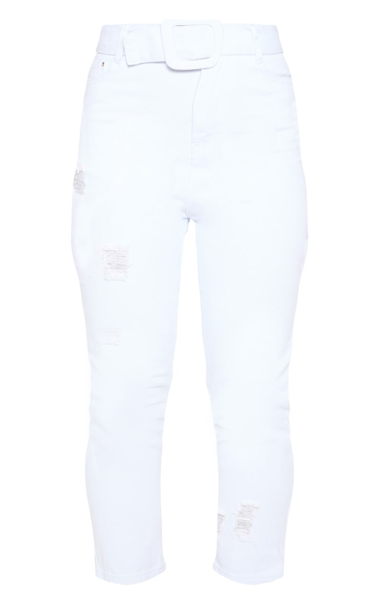 Petite - Jean droit blanc déchiré à détail ceinture 3