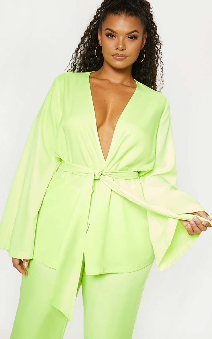 Plus Neon Lime Woven Belt Detail Blazer 4