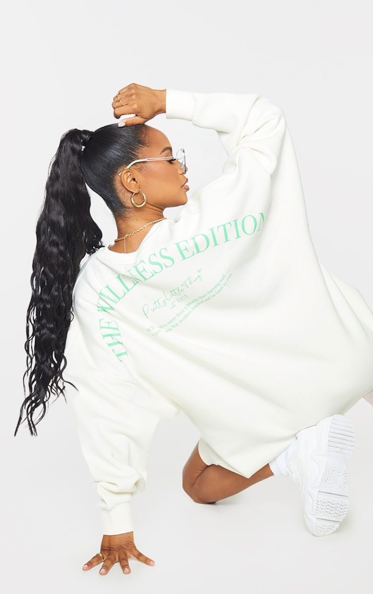 Recycled Cream Wellness Edition Slogan Sweat Jumper Dress 1