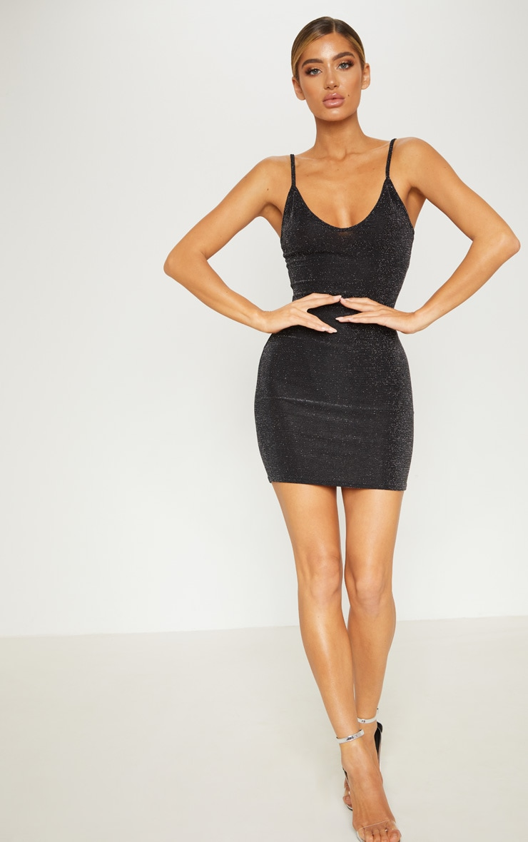 Black Sheer Strappy Textured Glitter Bodycon Dress 4