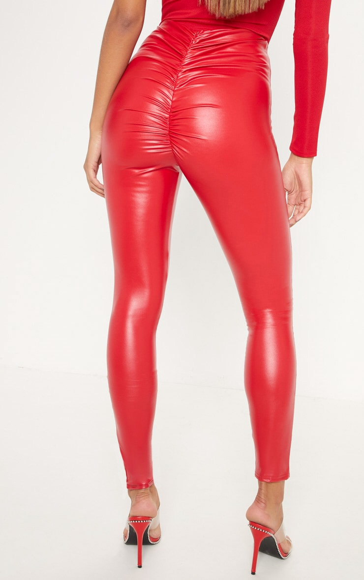 Red Faux Leather Ruched Bum Legging 4