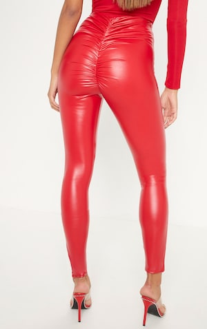 01902a0bd0 Red Faux Leather Ruched Bum Legging