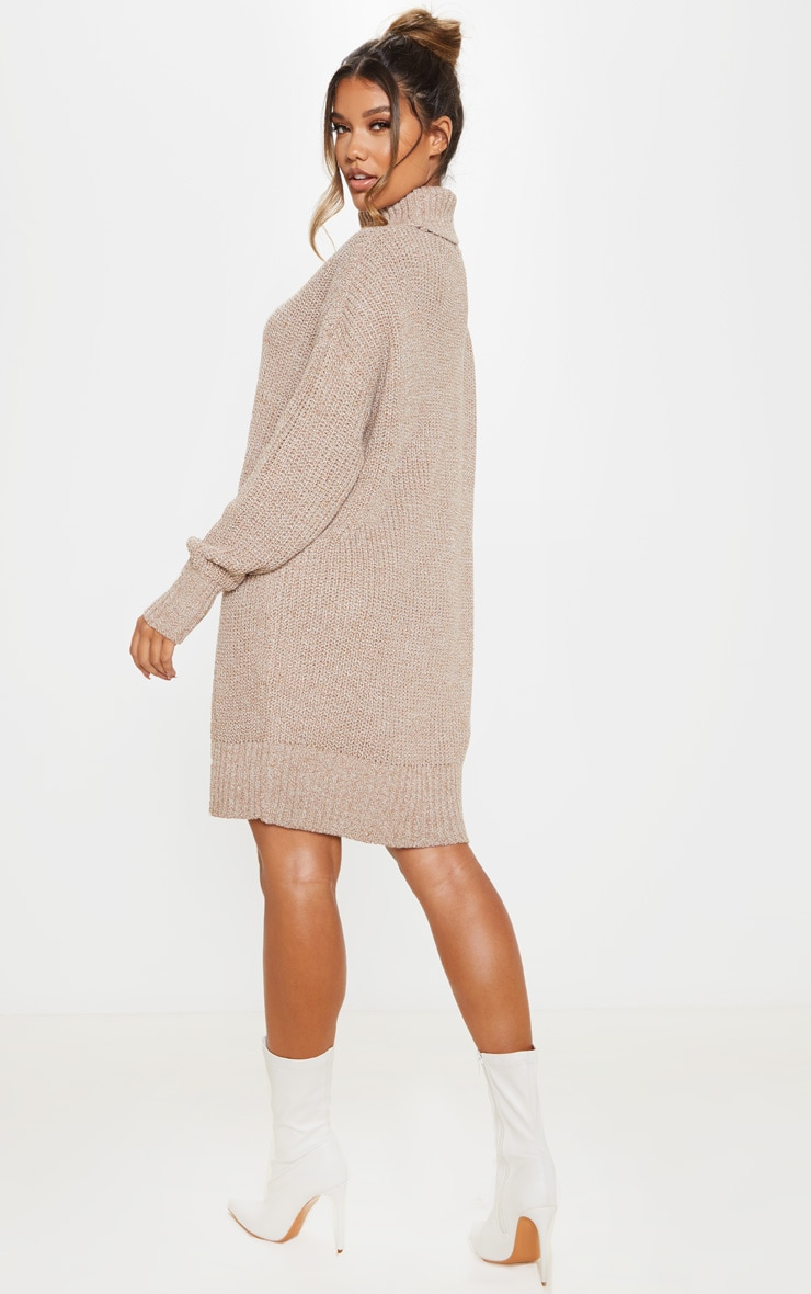 Camel Oversized High Neck Knitted Sweater Dress  2