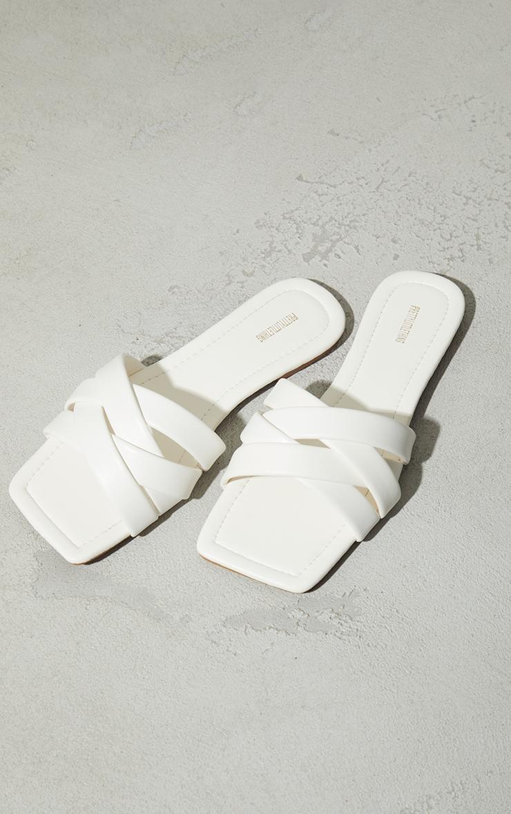 White PU Toe Basket Weave Mule Sandals 3